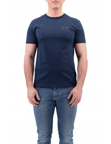 T-SHIRT LA MARTINA BLU A GIROCOLLO IN...