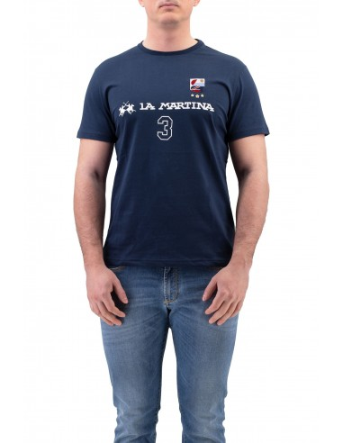 T-SHIRT LA MARTINA BLU IN COTONE CON...